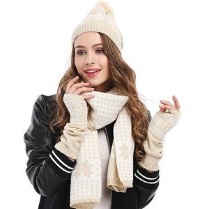 Bienvenu Snowflake Hat Gloves and Scarf Winter Set