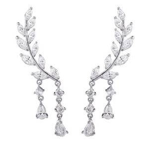 CZ Crystal Leaves Ear Cuffs Earrings