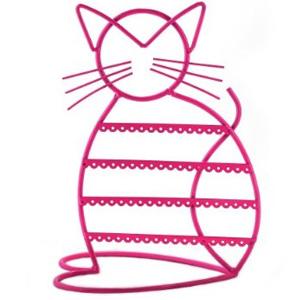 Cat Shape Metal Wire Earring Holder