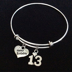Happy 13th Birthday Expandable Charm Bracelet