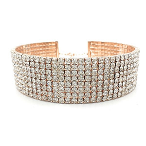 LuxeLife Rose Gold 3 Row Rhinestone Choker