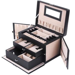 Songmics Black Leather Jewelry Box