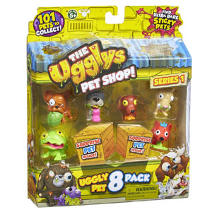 The Ugglys Pet Shop!, Series 1 Mini Figures, 8-Pack