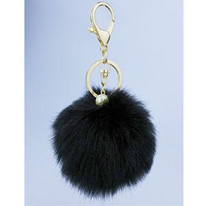 Faux Fur Ball Charm Key Chain