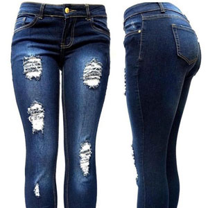 JK41 BLUE Denim JEANS Skinny Ripped Distressed Pants