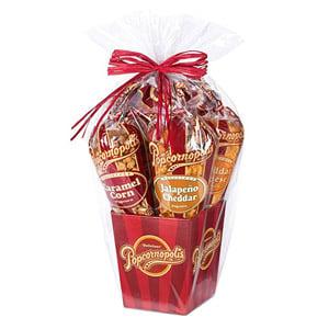 Popcornopolis Gourmet Popcorn 5-Cone Gift Basket
