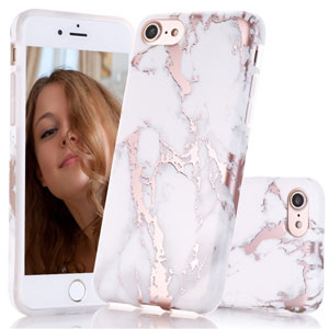 iPhone Rose Gold White Marble Case