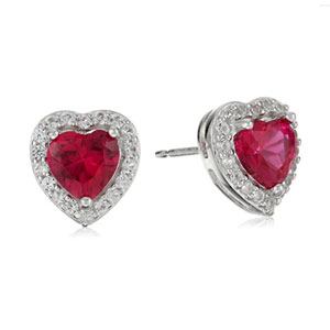 Rhodium Plated Sterling Silver Birthstone Earrings