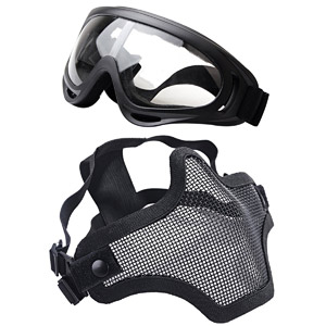 Outgeek Airsoft Half Face Mask and Goggles Set