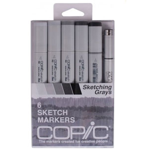 Copic Sketch Set of 6 Markers - Greys
