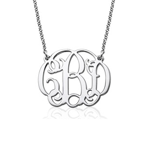 Custom Monogram Necklace in 925 Sterling Silver