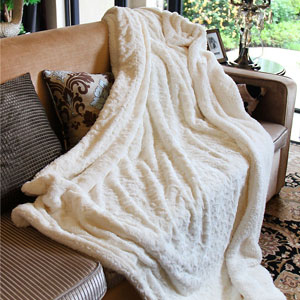 DaDa Faux Fur Sherpa Throw Blanket