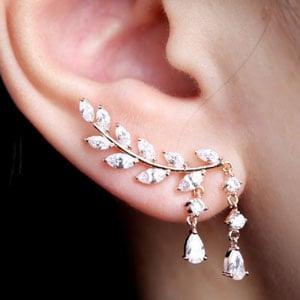 Everu Rose Gold Leaf Ear Cuffs  Earrings