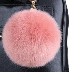 Faux Fur Pompon with Keychain
