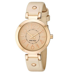 Nine West Rose Gold-Tone Pink Strap Watch