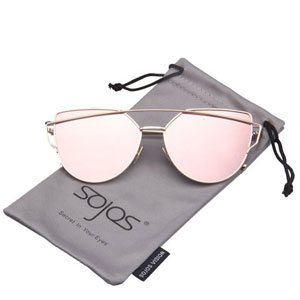 SojoS Cat Eye Mirrored Flat Lenses