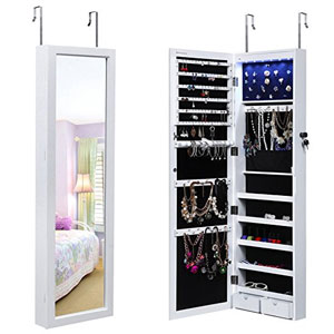 Songmics Lockable Jewelry Cabinet Wall