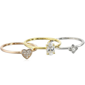 Sterling Silver Cubic Zirconia Stackable Ring Set