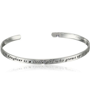 Sterling Silver Daughter Quote Cuff Bracelet