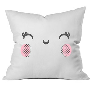 Pink Cheeks Throw Pillow Cover