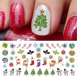 Christmas Holiday Nail Art Decals