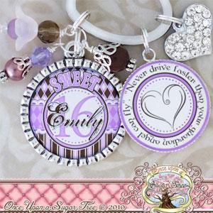 Custom Name Sweet 16 Keychain