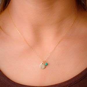Efy Tal Initial and Birthstone Necklace