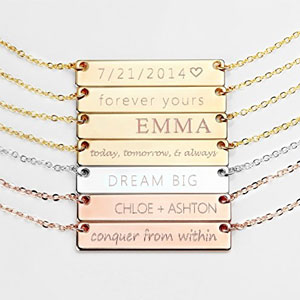 Personalized Necklace Name Plate Bar