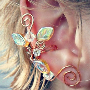 Ear Cuff Lothlorien Golden Crystal Ear Climber