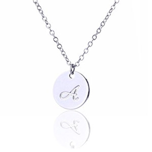 AOLO Silver Color Initial Disc Necklace