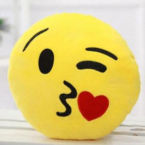 Hughappy Cheek Kiss Emoji Pillow