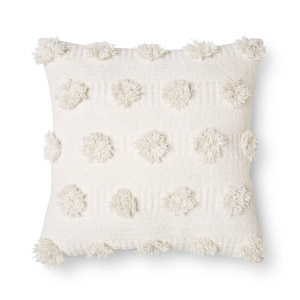 Cream Pom Dot Square Throw Pillow