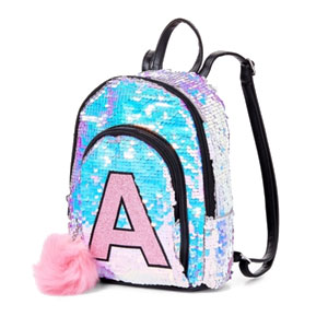 Iridescent Sequin Initial Mini Backpack