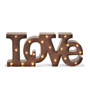 Vintage Metal 20 Bright Warm White LED Marquee Love Symbol