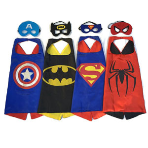 Superhero 4 Satin Capes and 4 Felt Masks