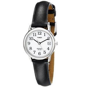 Timex Women's Easy Reader Black Leather Strap Watch