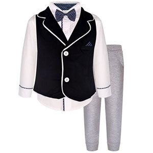 4 Piece Little Boys Tuxedo Outfit
