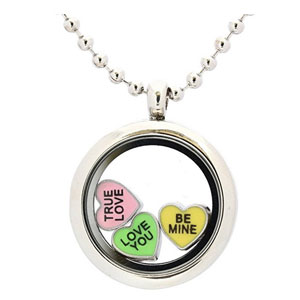 Candy Heart Locket Charm Set