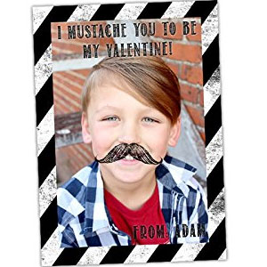 Little Man Mustache Valentine Card (16 Pack)
