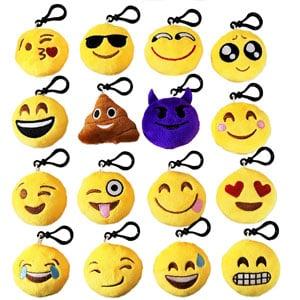 MelonBoat Emoji Mini Plush Keychains (16 Count)