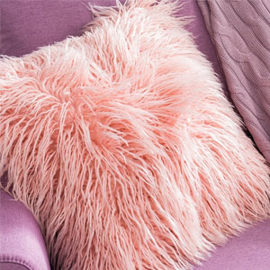 OJIA Pink Faux Fur Throw Pillow Cover