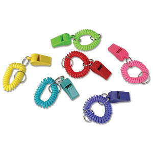 Rin Spiral Bracelet and Keychain Whistles (24 Pack)