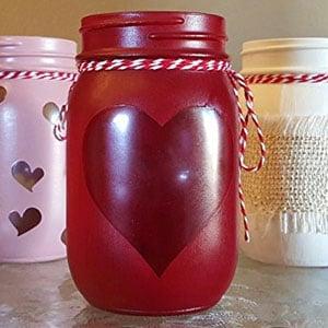 Valentine Heart Cutout Mason Jar