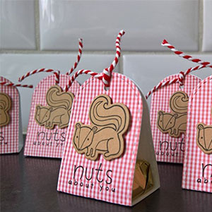 Valentine Squirrel Nuts Favor Boxes  (5 Pack)