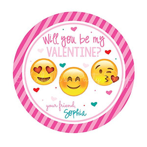 Will You Be My Valentine Emoji Labels (12 Pack)