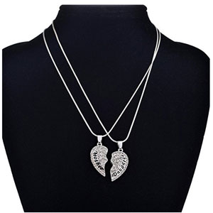 Yumily Mother & Daughter Heart Necklace