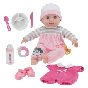 "Berenguer Boutique 15"" Soft Body Baby Doll - Pink 10 Piece Gift Set with Open/Close Eyes- Perfect for Children 2+"
