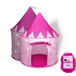 Fox Print Princess Castle Play Tent with Glow in the Dark Stars, conveniently folds in to a Carrying Case, your kids will enjoy this Foldable Pop Up pink play tent/house toy for Indoor & Outdo​or Use