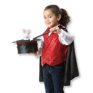 Melissa & Doug Magician Role Play Costume Set - Includes Hat, Cape, Wand, Magic Tricks