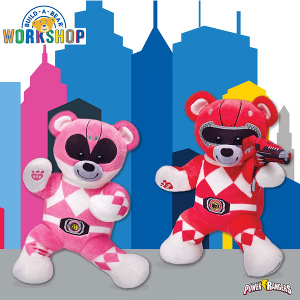 Build-A-Bear Workshop Make-Your-Own Power Rangers Red Ranger Bear and Pink Ranger Bear